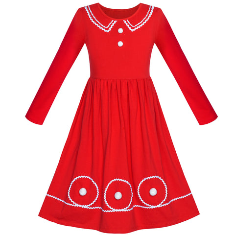Girls Dress Christmas Long Sleeve Cotton Maxi Dress Size 6-12 Years