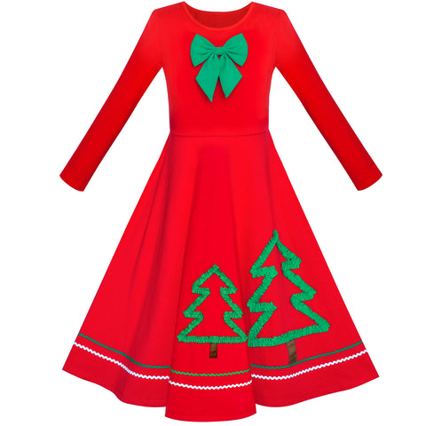 Girls Dress Christmas Tree Maxi Long Sleeve Cotton Size 6-12 Years