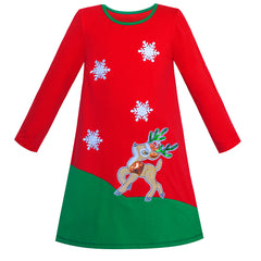 Girls Dress Long Sleeve Christmas Reindeer Snow Holiday Party Size 6-12 Years