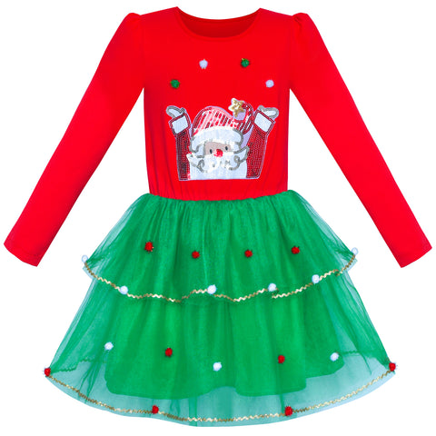 Girls Dress Christmas Santa Long Sleeve Party Dress Size 6-12 Years