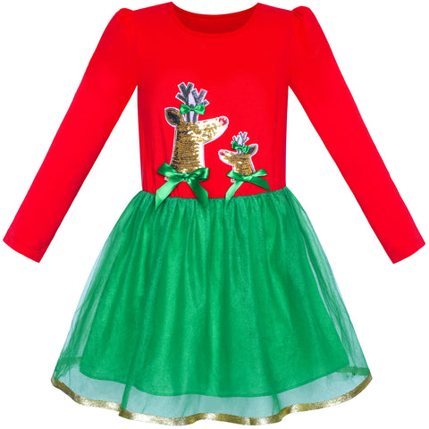 Girls Dress Christmas Reindeer Long Sleeve Party Dress Size 6-12 Years