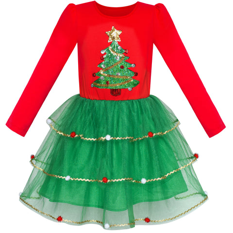 Girls Dress Christmas Tree Long Sleeve New Year Party Dress Size 6-12 Years
