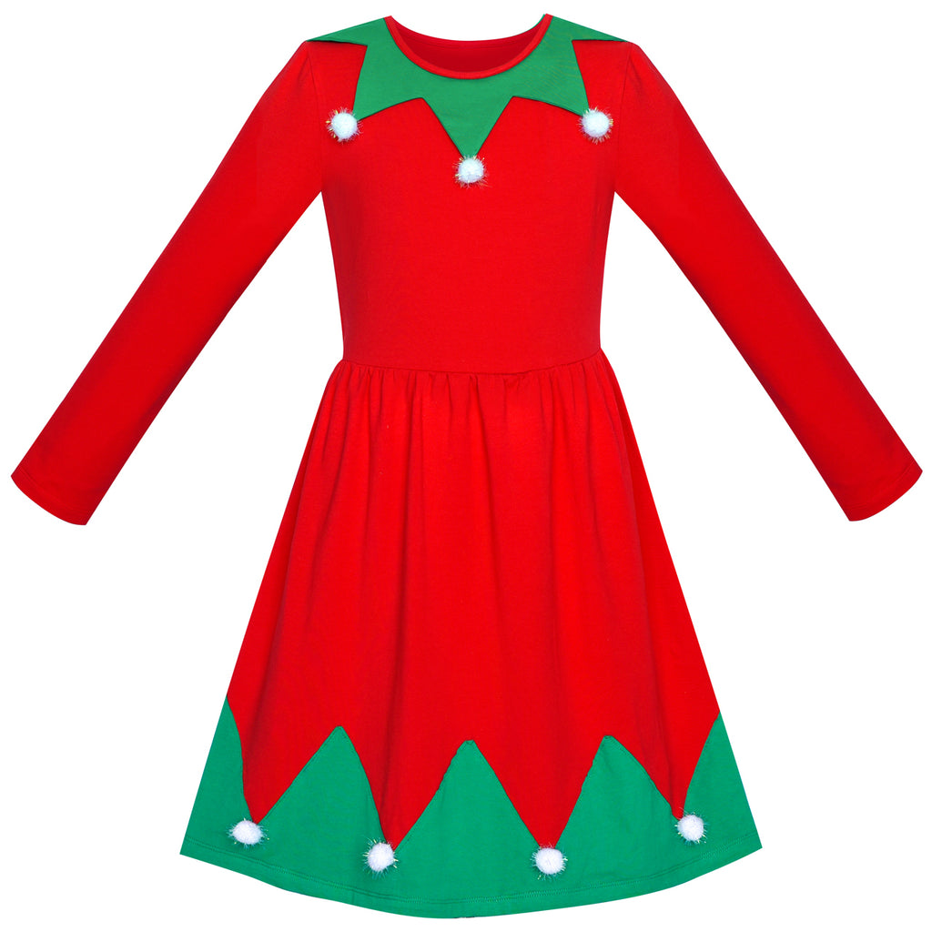 Girls Dress Christmas Tree Pompoms Long Sleeve New Year Size 5-10 Years