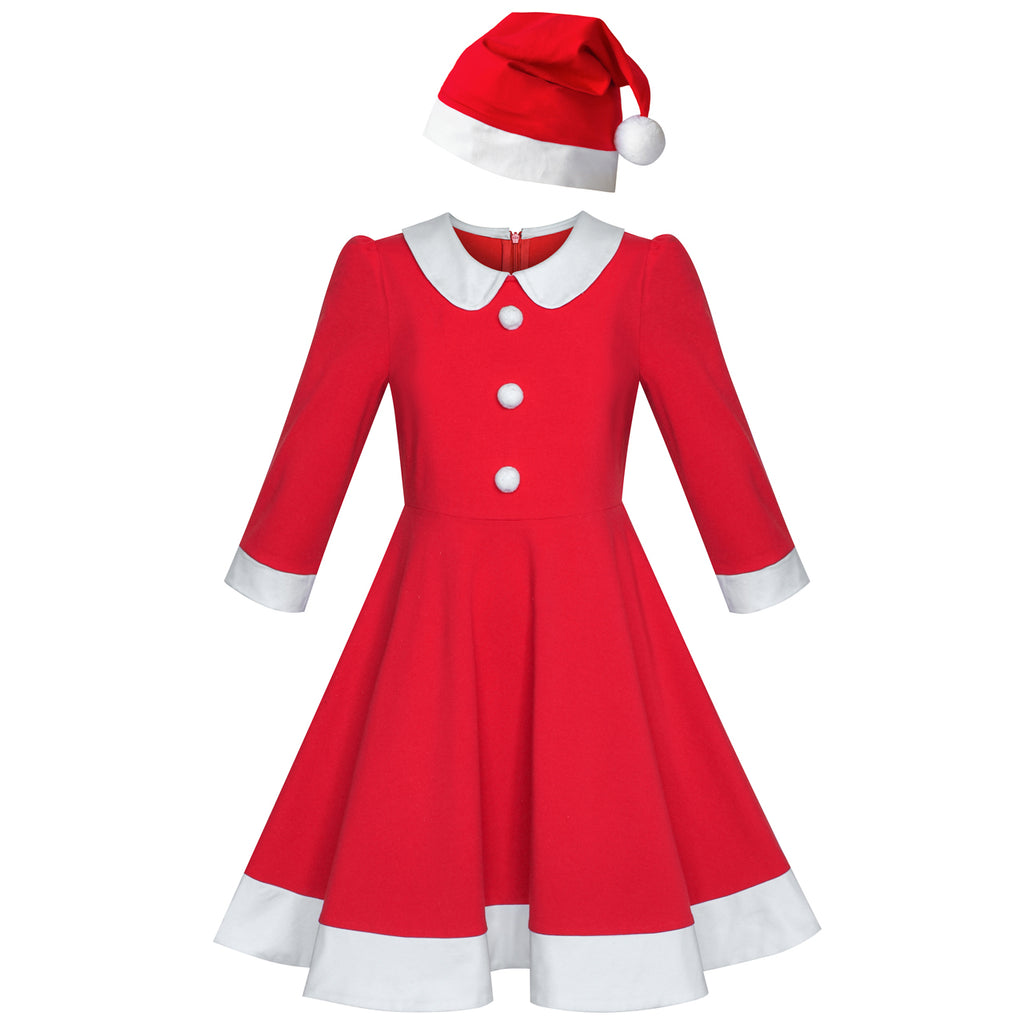 Girls Dress Christmas Santa Hat Long Sleeve Party New Year Size 5-10 Years