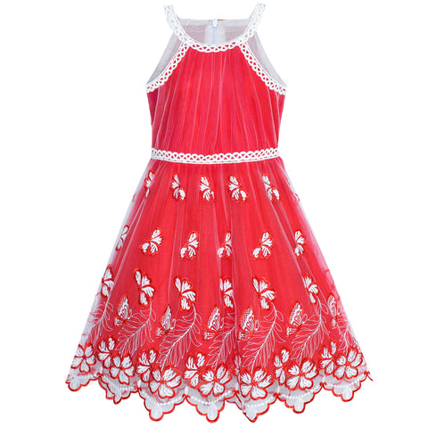 Girls Dress Red Butterfly Embroidered Halter Dress Size 5-12 Years