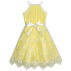Girls Dress Yellow Butterfly Embroidered Halter Dress Size 5-12 Years