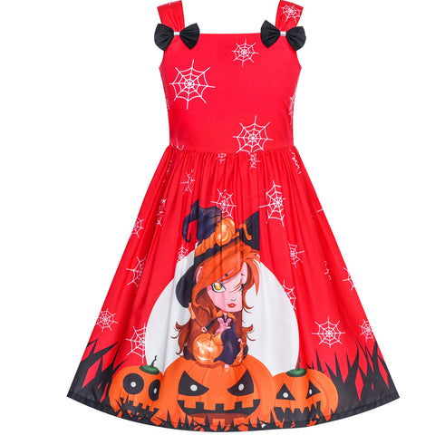 Girls Dress Halloween Pumpkin Witch Bow Tie Party Costume Size 2-8 Years