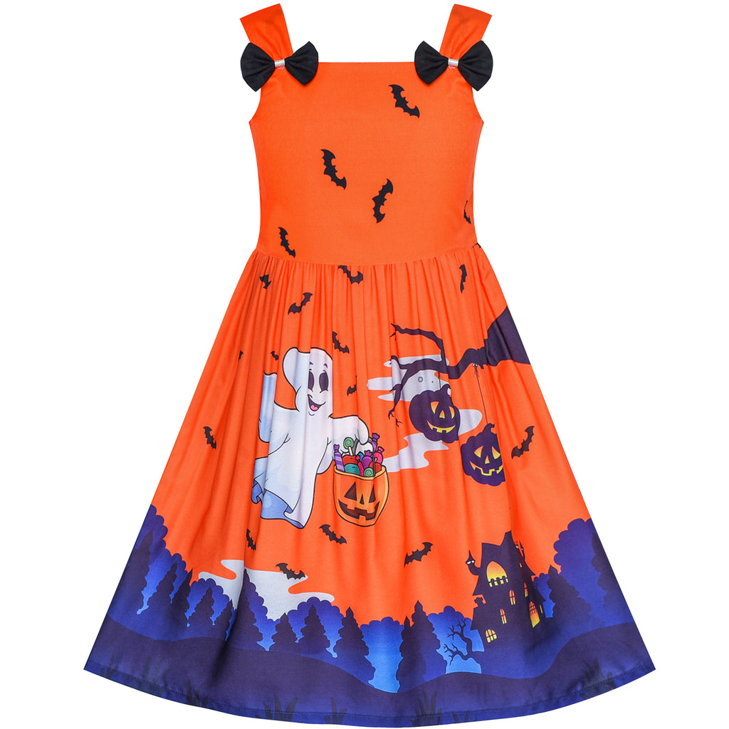 Girls Dress Halloween Ghost Bats Witch Pumpkin Party Costume Size 2-8 Years