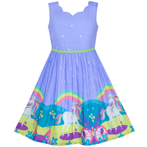 Girls Dress Unicorn Rainbow Halloween Costume Princess Size 4-12 Years