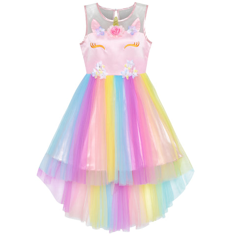 Flower Girls Dress Unicorn Rainbow Halloween Costume Party Size 7-10 Years