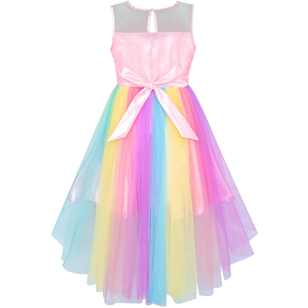 746952fba9a ... Flower Girls Dress Unicorn Rainbow Halloween Costume Party Size 7-10  Years ...