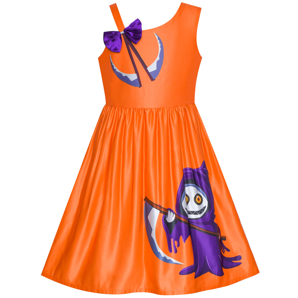 Girls Dress Halloween Ghost Sickle Witch One Shoulder Costume Size 6-12 Years