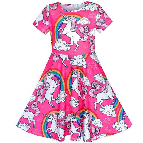 Girls Dress Unicorn Rainbow Short Sleeve Casual Dress Size 6-12 Years