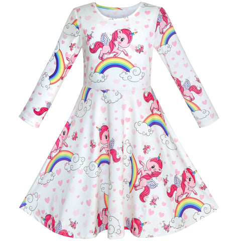 Girls Dress Unicorn Rainbow Long Sleeve Casual Dress Size 3-8 Years