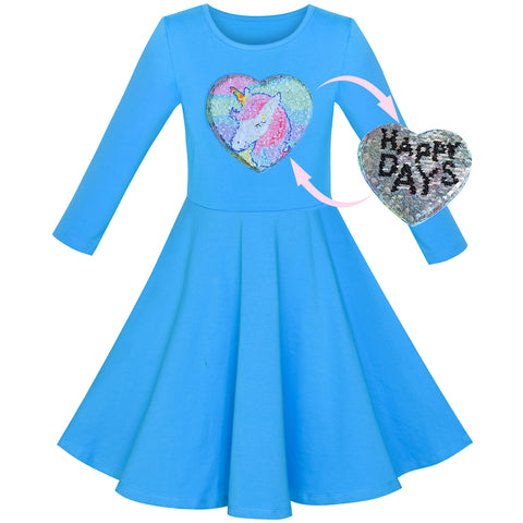 Girls Dress Cotton Blue Unicorn Sequin Long Sleeve Casual Size 4-8 Years
