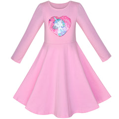 Girls Dress Cotton Pink Unicorn Sequin Long Sleeve Casual Size 4-8 Years