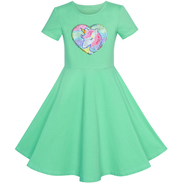 Girls Dress Cotton Green Unicorn Sequin Short Sleeve