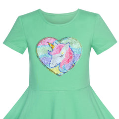 Girls Dress Cotton Green Unicorn Sequin Short Sleeve Casual Size 4-8 Years