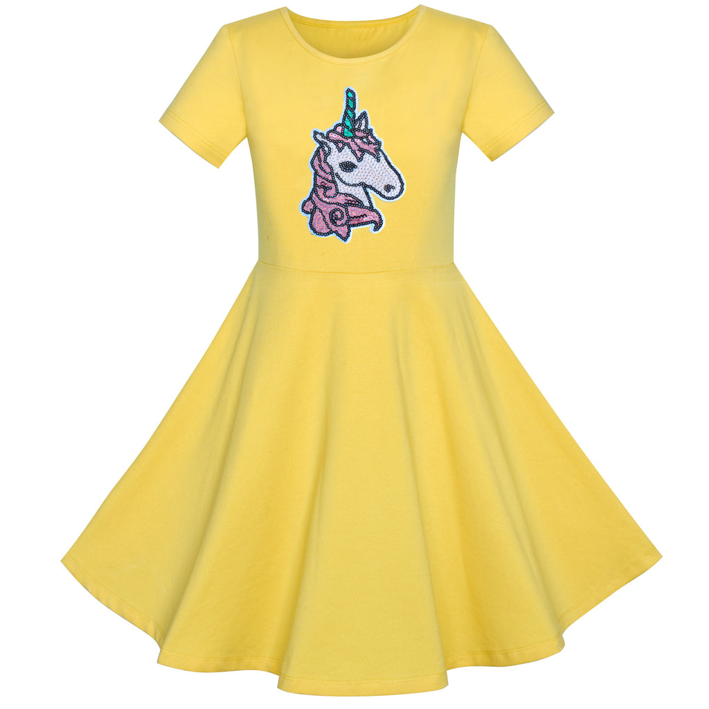 Girls Dress Cotton Yellow Unicorn Sequin Short Sleeve Casual Size 4-8 Years
