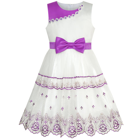 Girls Dress Bow Tie Purple White Color Contrast Lace Flower Size 6-12 Years