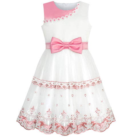 Girls Dress Bow Tie Pink White Color Contrast Lace Flower Size 6-12 Years