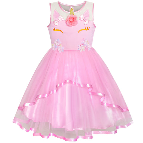 Girls Dress Unicorn Halloween Pink Tulle Princess Party Size 4-10 Years