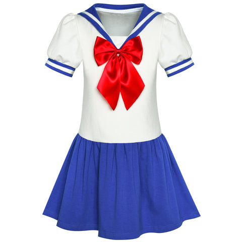 Girls Dress Sailor Moon Cosplay School Uniform Blue Suit Size 14-14 Years