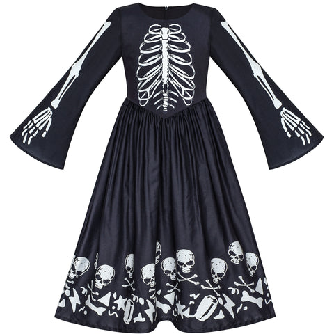 Girls Dress Halloween Ghost Skull Vampire Girl Cosplay Size 7-14 Years