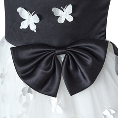 Flower Girls Dress White And Black Butterfly Pageant Party Size 6-12 Years