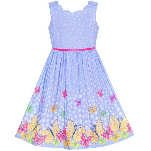 Girls Dress Purple Butterfly Scallop Neckline Size 4-12 Years