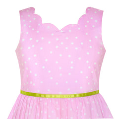 Girls Dress Pink Butterfly Scallop Neckline Size 4-12 Years