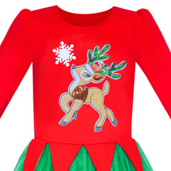 Girls Dress Christmas Reindeer Jingle Bell Long Sleeve Size 6-12 Years