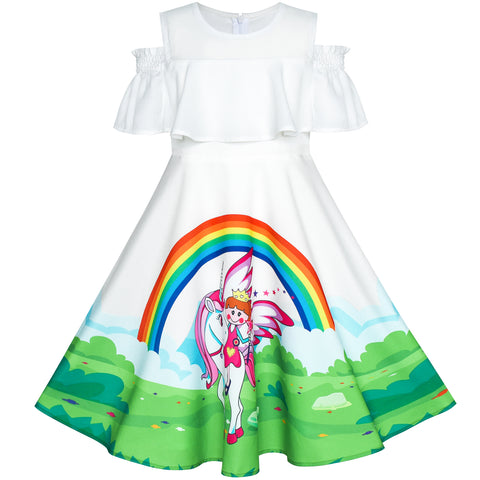Girls Dress Unicorn Rainbow Cold Shoulder Halloween Costume Size 4-8 Years