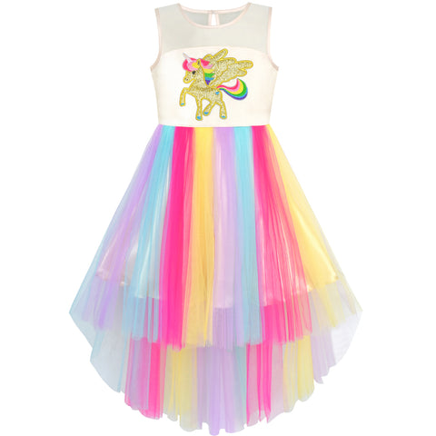 Girls Dress Embroidered Unicorn Rainbow Halloween Costume Size 7-10 Years
