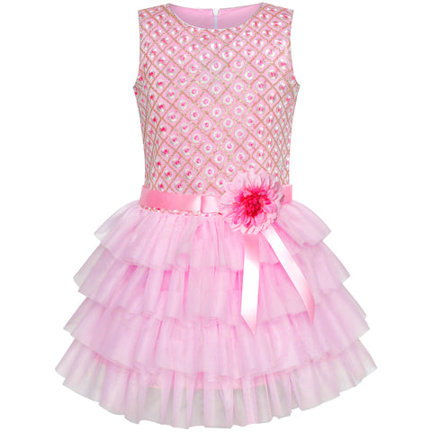 Girls Dress Ruffle Skirt Pink Flower Birthday Party Size 5-12 Years
