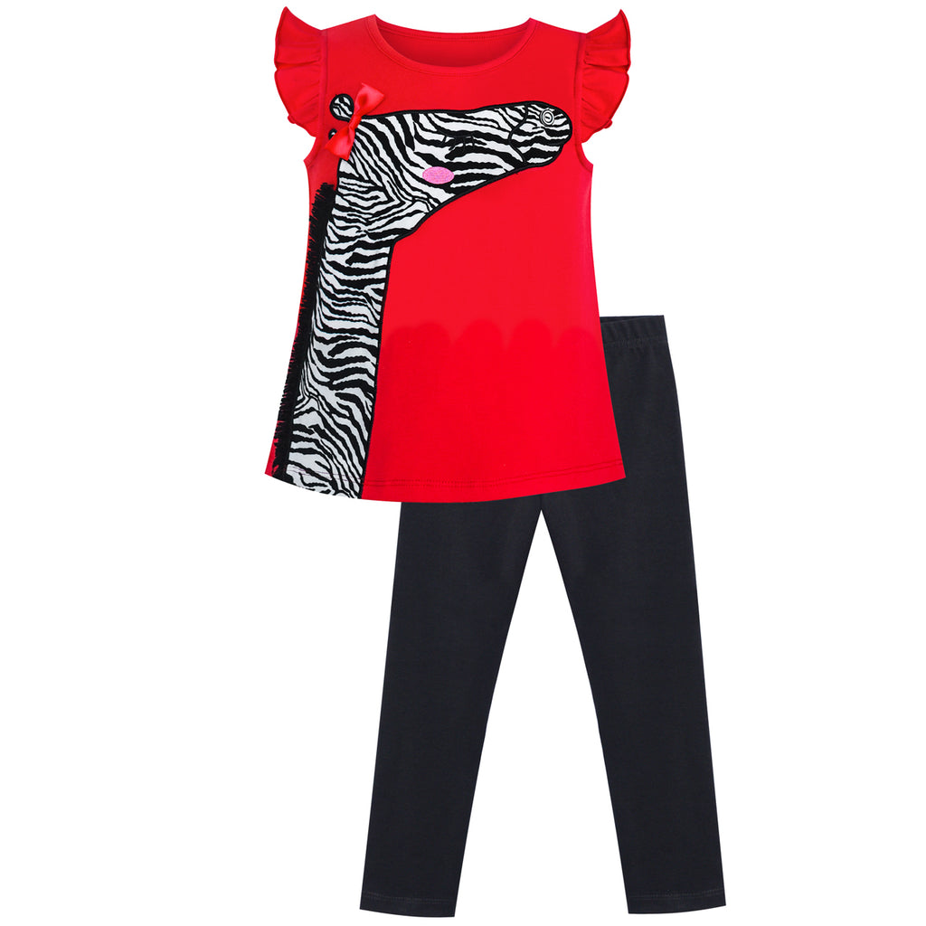 Girls Outfit Set Tee And Pants Zebra Clothing Set Size 2-6 Years