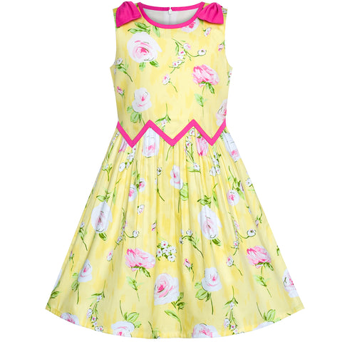 Girls Dress Yellow Pink Rose Flower Chevron Waist Bow Tie Size 6-12 Years