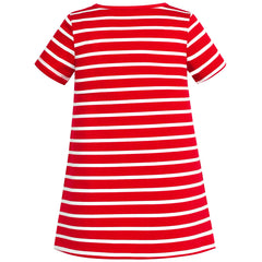 Girls Dress Flower Embroidered Red Stripe Short Sleeve Size 2-6 Years