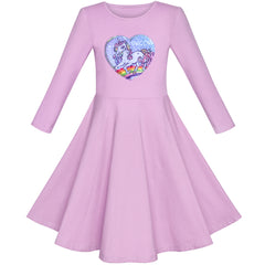 Girls Dress Cotton Purple Unicorn Sequin Short Sleeve Casual Size 4-8 Years