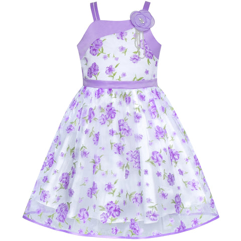 Flower Girls Dress Purple Floral Tank Wedding Party Pageant Size 6-12 Years