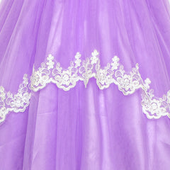 Flower Girls Dress Purple Lace Belted Wedding Party Size 4-12 Years