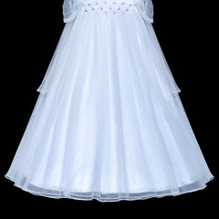 Flower Girls Dress White Sparkling Corset Pageant Vintage Size 6-12 Years