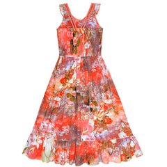 Girls Dress Floral Cotton Casual Summer Beach Sundress Size 6-12 Years