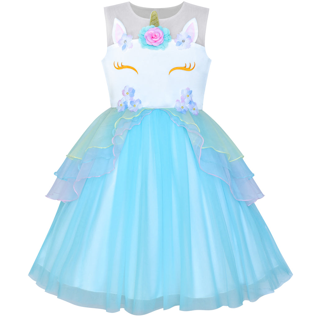 Girls Dress Blue Unicorn Costume Cosplay Princess Halloween Party Size 4-10 Years