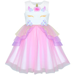 Girls Dress Pink Unicorn Costume Cosplay Princess Halloween Party Size 4-10 Years