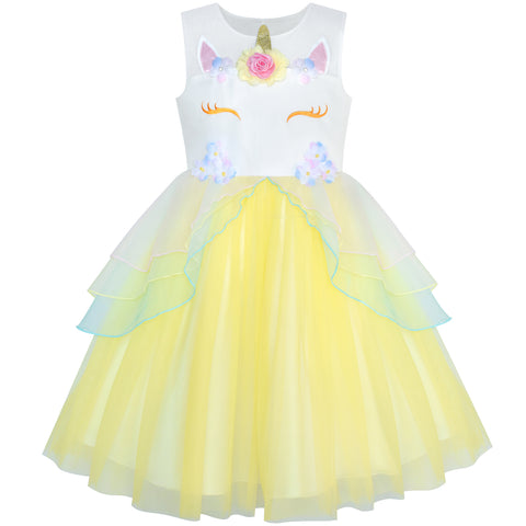 Girls Dress Yellow Unicorn Costume Cosplay Princess Halloween Party Size 4-10 Years