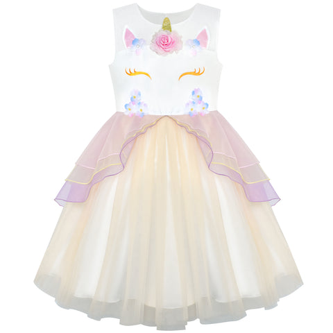 Girls Dress Champagne Unicorn Costume Cosplay Princess Halloween Party Size 4-10 Years