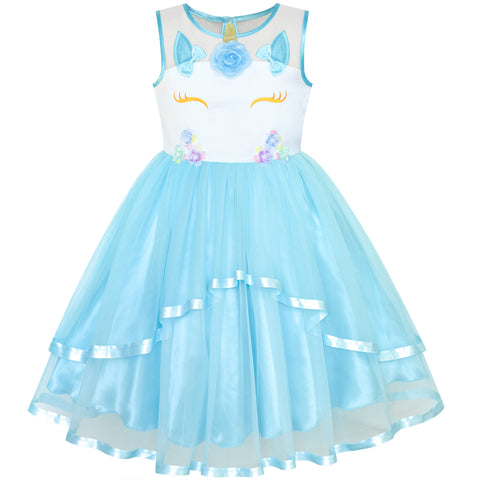 Girls Dress Unicorn Costume Halloween Blue Tutu Princess Size 4-10 Years