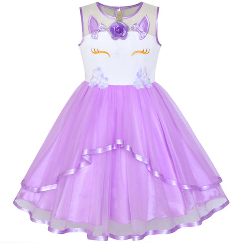Girls Dress Unicorn Costume Halloween Purple Tutu Princess Size 4-10 Years
