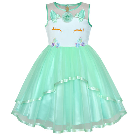 Girls Dress Unicorn Costume Halloween Green Tutu Princess Size 4-10 Years